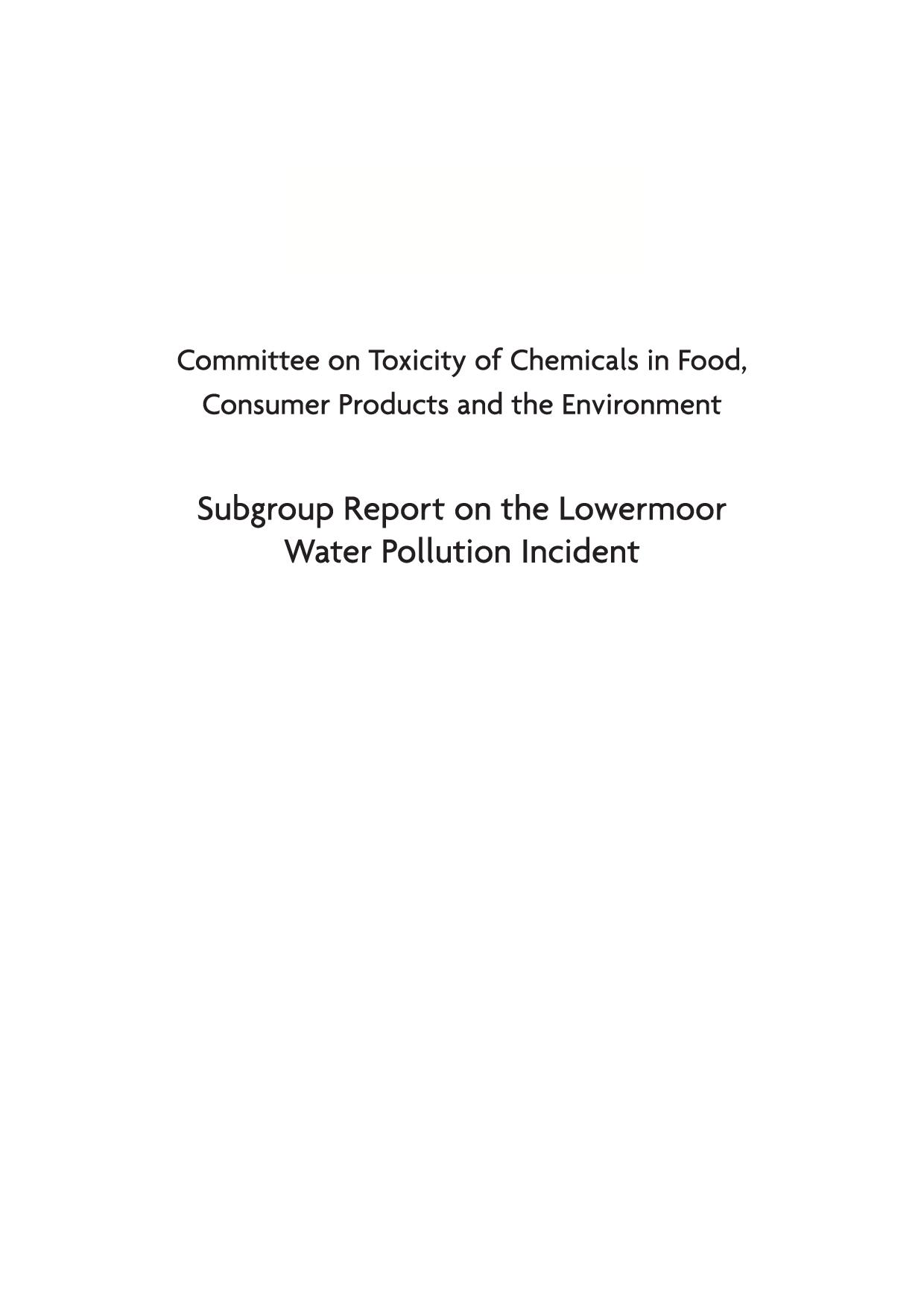 Subgroup report on the lowermoor water pollution incident